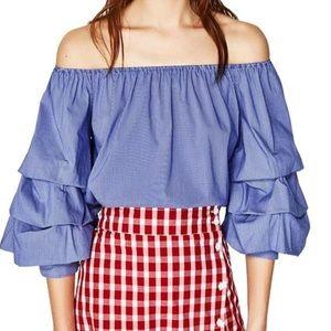 Zara Blue Stripe Ruffle Sleeve Off Shoulder Medium